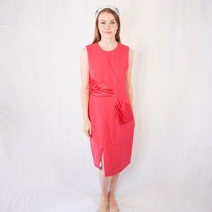 PRABAL GURUNG Wool and Silk Fuchsia Dress Midi